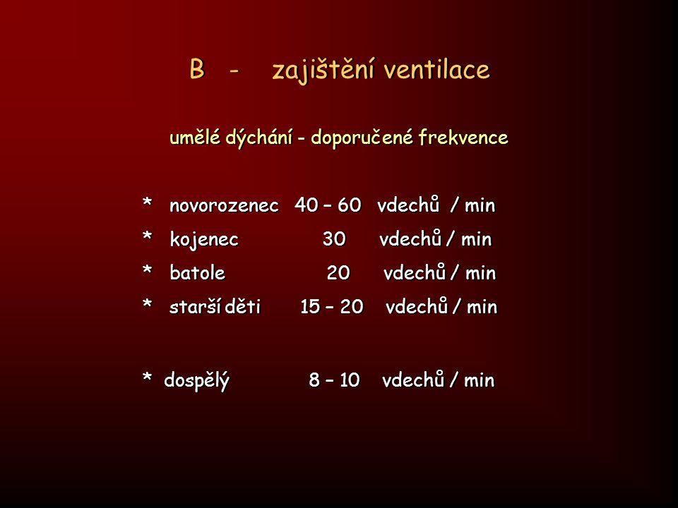 B - zajištění ventilace umělé dýchání - doporučené frekvence * novorozenec 40 – 60 vdechů / min * kojenec 30 vdechů / min * batole 20 vdechů / min * s