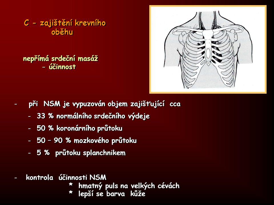 C - zajištění krevního oběhu nepřímá srdeční masáž - účinnost - při NSM je vypuzován objem zajišťující cca - 33 % normálního srdečního výdeje - 50 % k