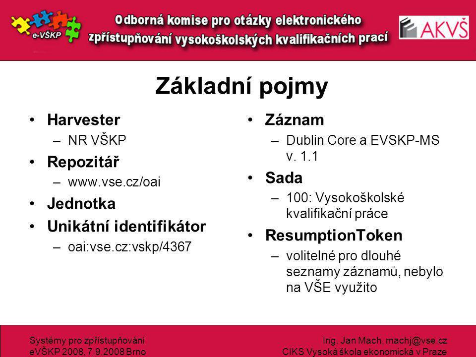 Systémy pro zpřístupňování eVŠKP 2008, 7.9.2008 Brno Ing.