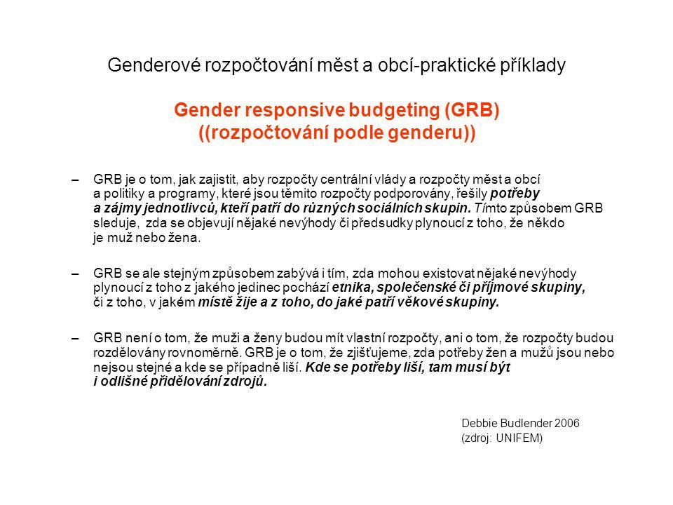 Genderové rozpočtování měst a obcí-praktické příklady Gender responsive budgeting (GRB) ((rozpočtování podle genderu)) –GRB je o tom, jak zajistit, aby rozpočty centrální vlády a rozpočty měst a obcí a politiky a programy, které jsou těmito rozpočty podporovány, řešily potřeby a zájmy jednotlivců, kteří patří do různých sociálních skupin.