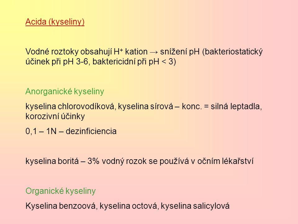 Acida (kyseliny) Vodné roztoky obsahují H + kation → snížení pH (bakteriostatický účinek při pH 3-6, baktericidní při pH < 3) Anorganické kyseliny kys
