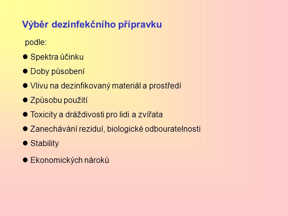 Výběr dezinfekčního přípravku podle: Spektra účinku Doby působení Vlivu na dezinfikovaný materiál a prostředí Způsobu použití Toxicity a dráždivosti p