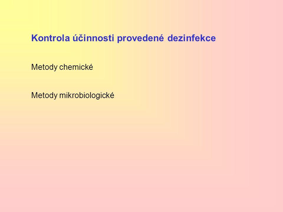 Kontrola účinnosti provedené dezinfekce Metody chemické Metody mikrobiologické