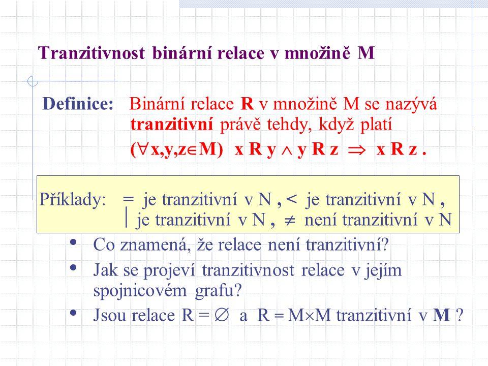 Tranzitivnost binární relace v množině M Definice: Binární relace R v množině M se nazývá tranzitivní právě tehdy, když platí (  x,y,z  M) x R y  y