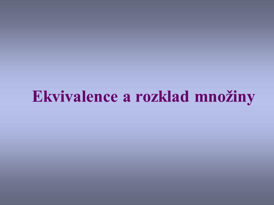 Ekvivalence v množině M Definice: Relace R v množině M se nazývá ekvivalence právě tehdy, když je reflexivní, symetrická a tranzitivní.