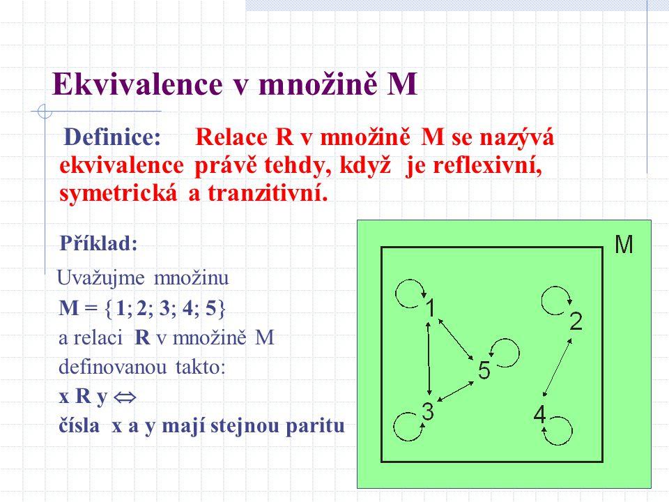 Ekvivalence v množině M Definice: Relace R v množině M se nazývá ekvivalence právě tehdy, když je reflexivní, symetrická a tranzitivní. Příklad: Uvažu