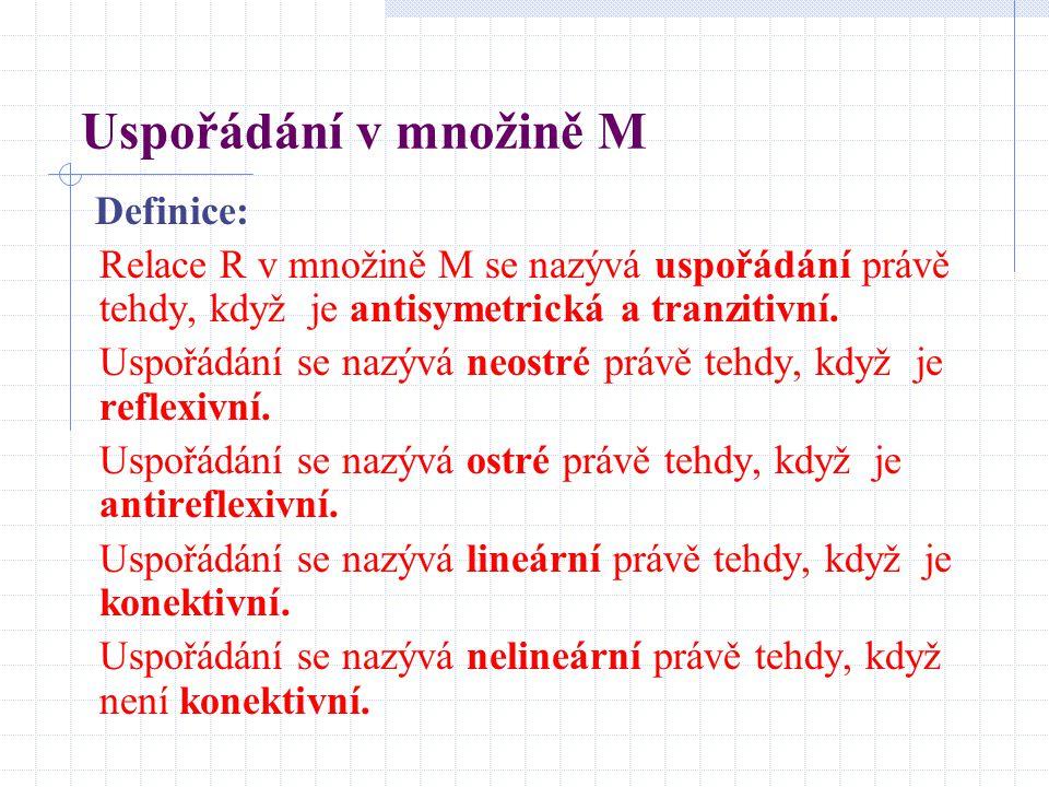 Uspořádání v množině M Definice: Relace R v množině M se nazývá uspořádání právě tehdy, když je antisymetrická a tranzitivní. Uspořádání se nazývá neo