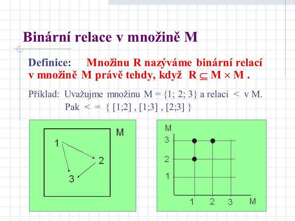 Binární relace v množině M Definice: Množinu R nazýváme binární relací v množině M právě tehdy, když R  M  M. Příklad: Uvažujme množinu M =  1  2