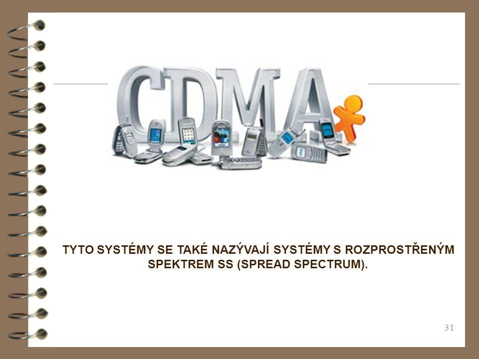 31 TYTO SYSTÉMY SE TAKÉ NAZÝVAJÍ SYSTÉMY S ROZPROSTŘENÝM SPEKTREM SS (SPREAD SPECTRUM).