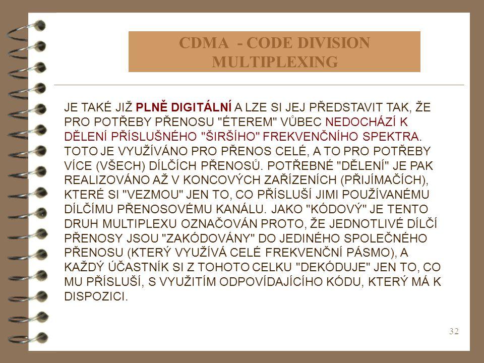 32 CDMA - CODE DIVISION MULTIPLEXING JE TAKÉ JIŽ PLNĚ DIGITÁLNÍ A LZE SI JEJ PŘEDSTAVIT TAK, ŽE PRO POTŘEBY PŘENOSU
