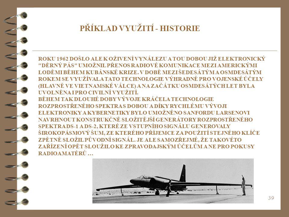 39 PŘÍKLAD VYUŽITÍ - HISTORIE ROKU 1962 DOŠLO ALE K OŽIVENÍ VYNÁLEZU A TOU DOBOU JIŽ ELEKTRONICKÝ