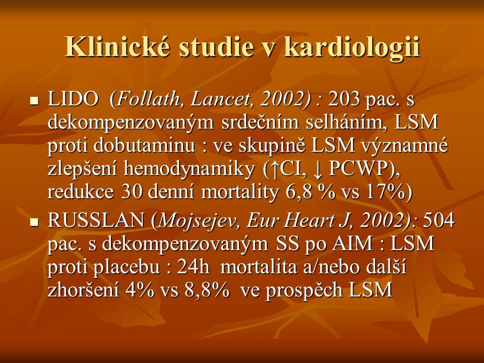 Klinické studie v kardiologii LIDO (Follath, Lancet, 2002) : 203 pac. s dekompenzovaným srdečním selháním, LSM proti dobutaminu : ve skupině LSM význa