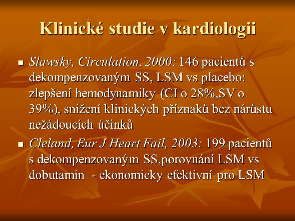 Klinické studie v kardiologii Slawsky, Circulation, 2000: 146 pacientů s dekompenzovaným SS, LSM vs placebo: zlepšení hemodynamiky (CI o 28%,SV o 39%)