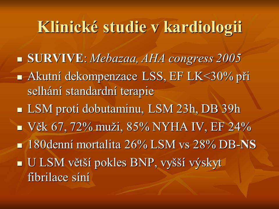 Klinické studie v kardiologii SURVIVE: Mebazaa, AHA congress 2005 SURVIVE: Mebazaa, AHA congress 2005 Akutní dekompenzace LSS, EF LK<30% při selhání s