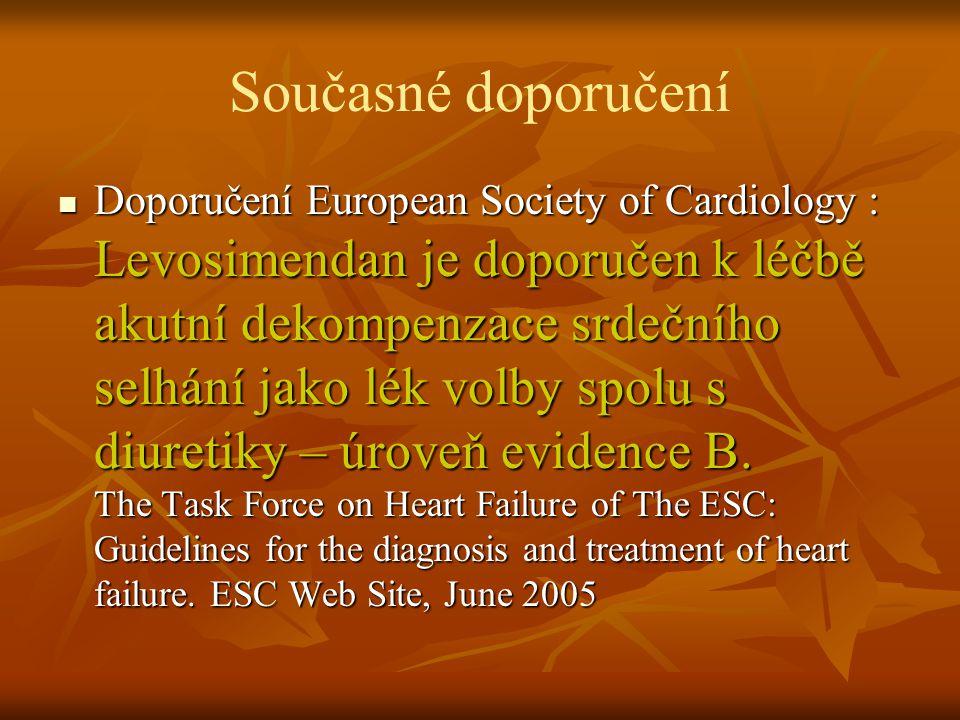 Současné doporučení Doporučení European Society of Cardiology : Levosimendan je doporučen k léčbě akutní dekompenzace srdečního selhání jako lék volby