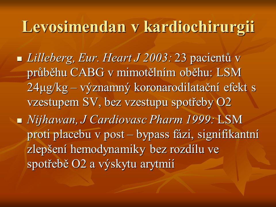 Levosimendan v kardiochirurgii Lilleberg, Eur. Heart J 2003: 23 pacientů v průběhu CABG v mimotělním oběhu: LSM 24μg/kg – významný koronarodilatační e