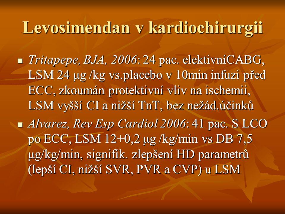 Levosimendan v kardiochirurgii Tritapepe, BJA, 2006: 24 pac. elektivníCABG, LSM 24 μg /kg vs.placebo v 10min infuzi před ECC, zkoumán protektivní vliv