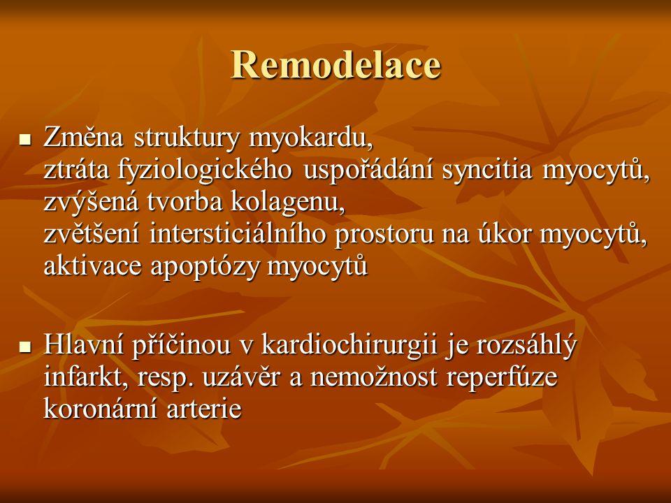 Remodelace Změna struktury myokardu, ztráta fyziologického uspořádání syncitia myocytů, zvýšená tvorba kolagenu, zvětšení intersticiálního prostoru na