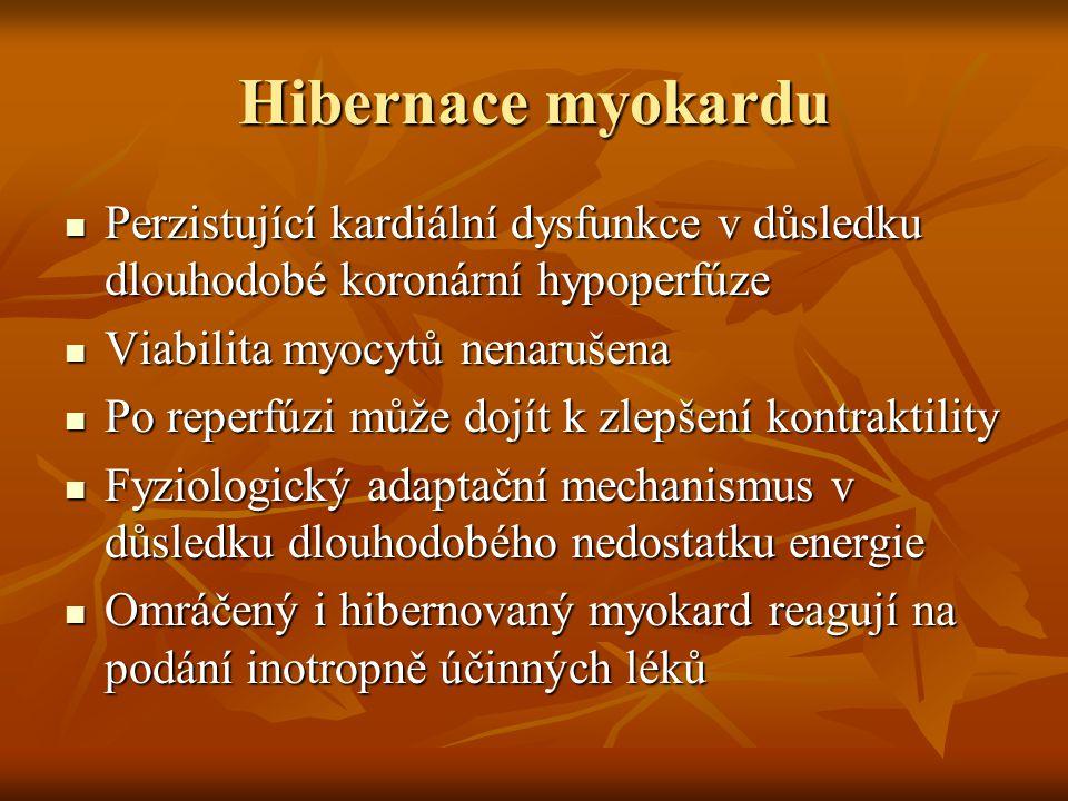 Hibernace myokardu Perzistující kardiální dysfunkce v důsledku dlouhodobé koronární hypoperfúze Perzistující kardiální dysfunkce v důsledku dlouhodobé