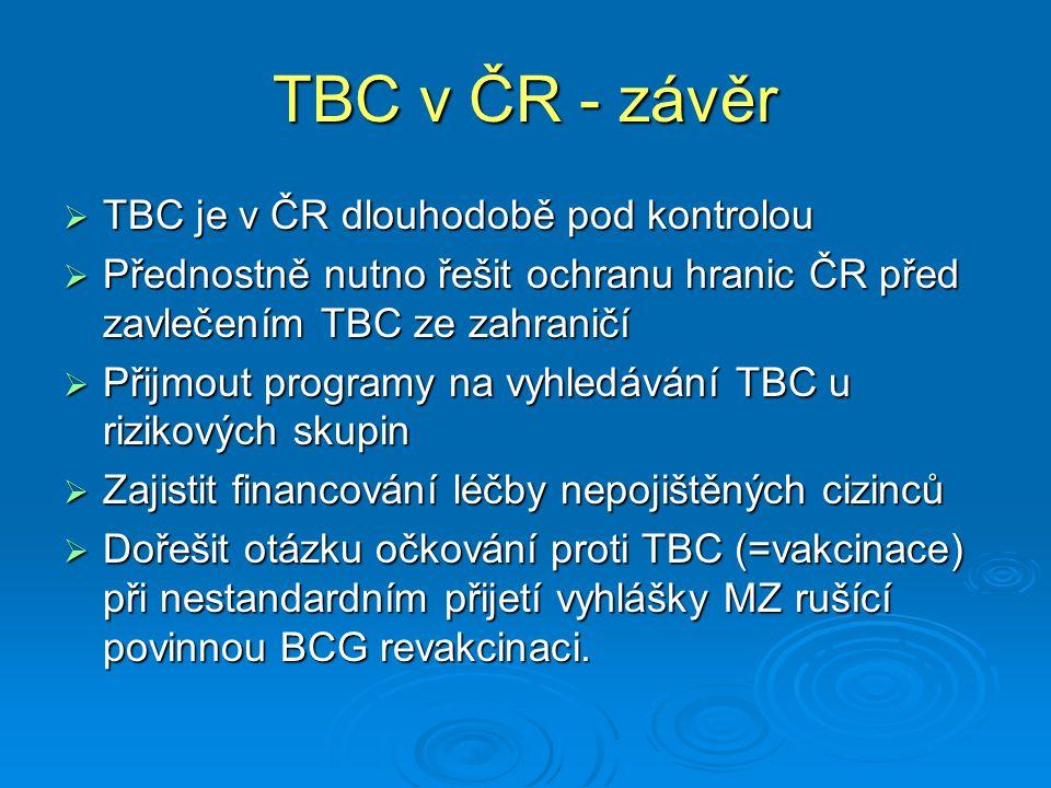 TBC v ČR - závěr  TBC je v ČR dlouhodobě pod kontrolou  Přednostně nutno řešit ochranu hranic ČR před zavlečením TBC ze zahraničí  Přijmout programy na vyhledávání TBC u rizikových skupin  Zajistit financování léčby nepojištěných cizinců  Dořešit otázku očkování proti TBC (=vakcinace) při nestandardním přijetí vyhlášky MZ rušící povinnou BCG revakcinaci.