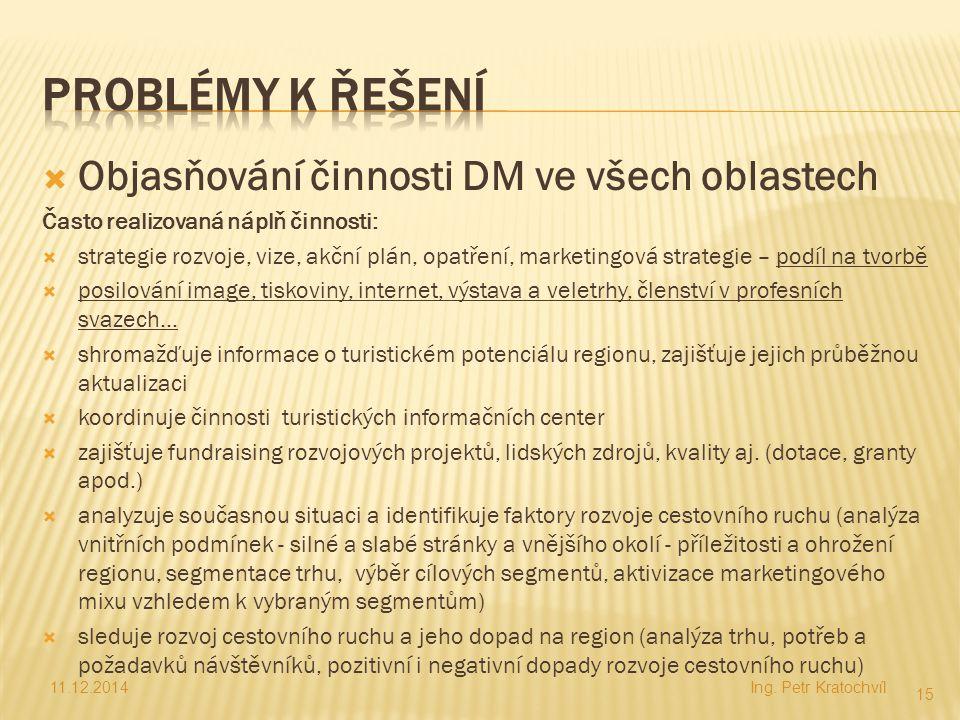  Objasňování činnosti DM ve všech oblastech Často realizovaná náplň činnosti:  strategie rozvoje, vize, akční plán, opatření, marketingová strategie