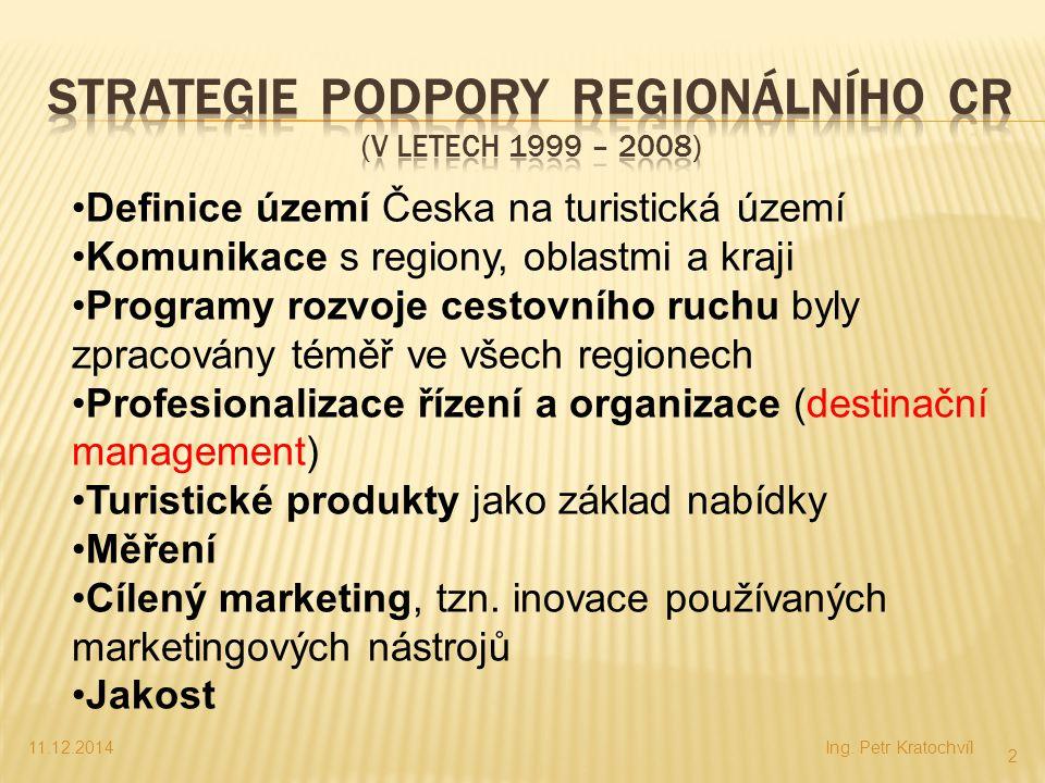 11.12.2014Ing. Petr Kratochvíl 2 Definice území Česka na turistická území Komunikace s regiony, oblastmi a kraji Programy rozvoje cestovního ruchu byl