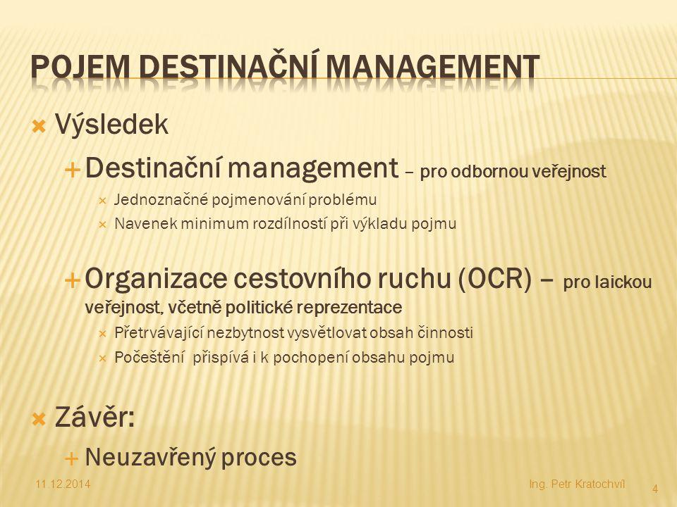  Výsledek  Destinační management – pro odbornou veřejnost  Jednoznačné pojmenování problému  Navenek minimum rozdílností při výkladu pojmu  Organ