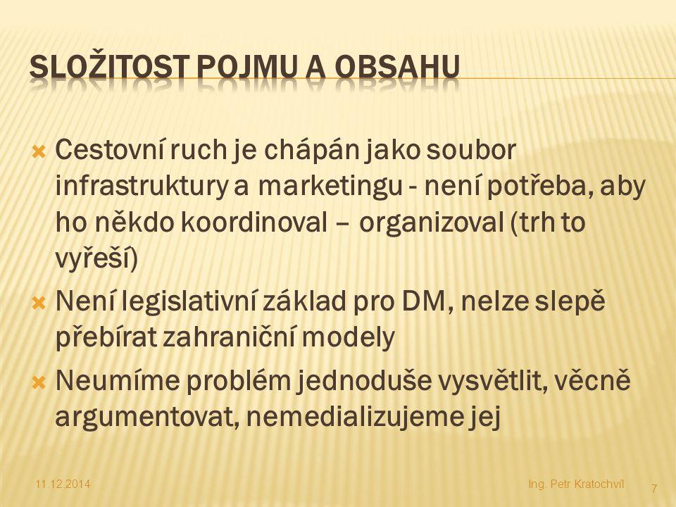  Profesionalizace organizace a řízení cestovního ruchu je základní podmínkou jeho rozvoje  Zvyšování autority DM lze dosáhnout přesvědčivou argumentací na číslech  Potřeba překonat bariéru tradičního pojetí marketingu v cestovním ruchu 11.12.2014Ing.