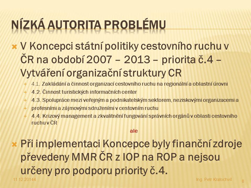  V Koncepci státní politiky cestovního ruchu v ČR na období 2007 – 2013 – priorita č.4 – Vytváření organizační struktury CR  4.1. Zakládání a činnos