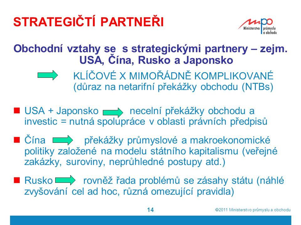  2011  Ministerstvo průmyslu a obchodu 14 STRATEGIČTÍ PARTNEŘI Obchodní vztahy se s strategickými partnery – zejm. USA, Čína, Rusko a Japonsko KLÍČ
