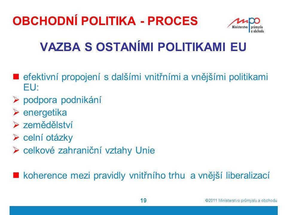  2011  Ministerstvo průmyslu a obchodu 19 OBCHODNÍ POLITIKA - PROCES VAZBA S OSTANÍMI POLITIKAMI EU efektivní propojení s dalšími vnitřními a vnějš