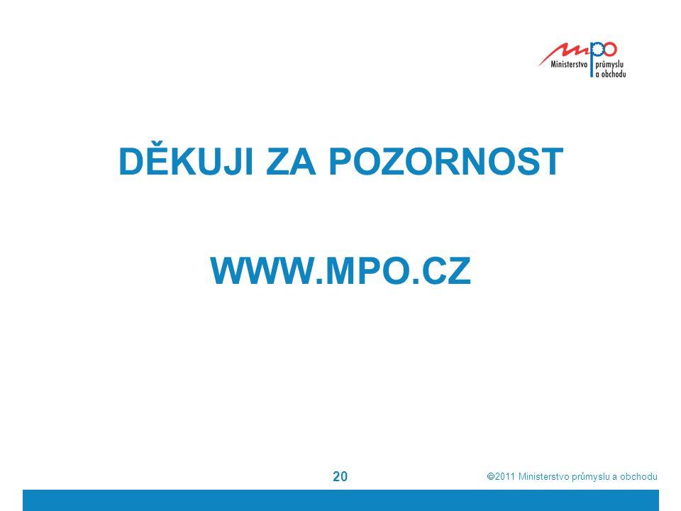  2011  Ministerstvo průmyslu a obchodu 20 DĚKUJI ZA POZORNOST WWW.MPO.CZ