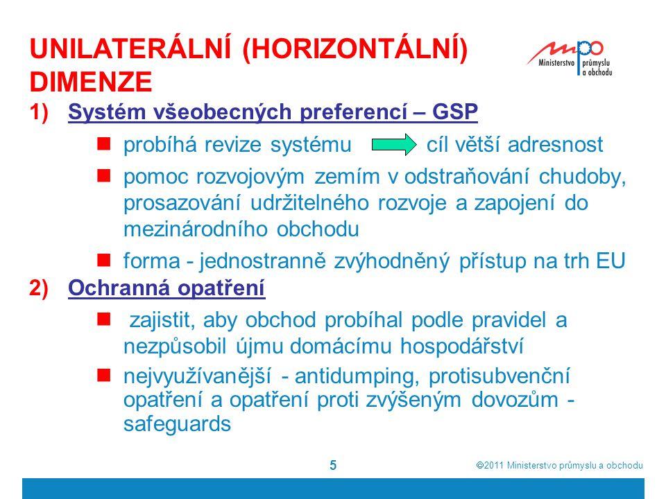  2011  Ministerstvo průmyslu a obchodu 5 UNILATERÁLNÍ (HORIZONTÁLNÍ) DIMENZE 1)Systém všeobecných preferencí – GSP probíhá revize systému cíl větší