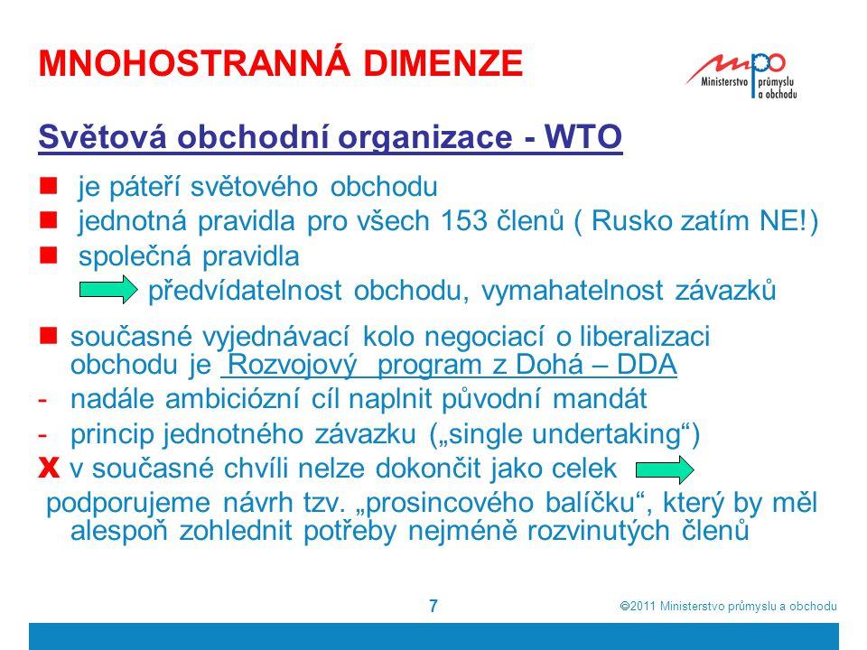  2011  Ministerstvo průmyslu a obchodu 7 MNOHOSTRANNÁ DIMENZE Světová obchodní organizace - WTO je páteří světového obchodu jednotná pravidla pro v