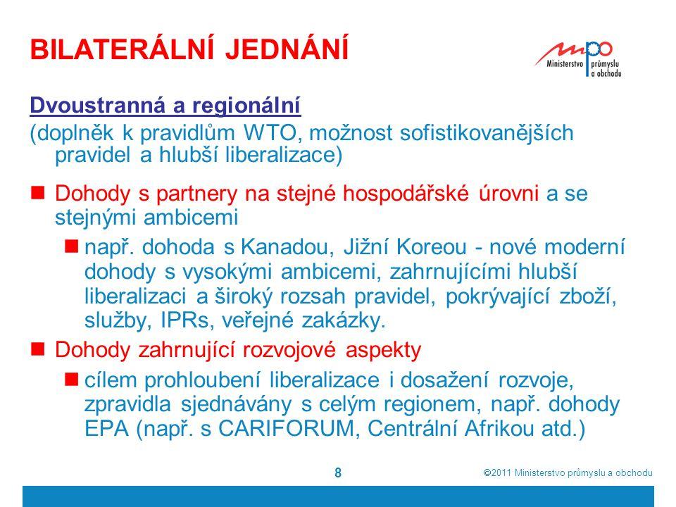  2011  Ministerstvo průmyslu a obchodu 9 BILATERÁLNÍ OBCHODNÍ DOHODY DCFTA = Hluboké a komplexní dohody o volném obchodu 1)s Korejskou republikou – uplatňování od 1.
