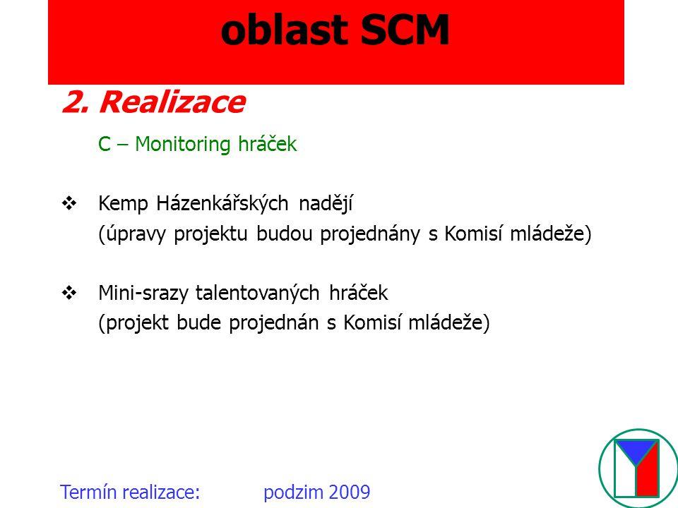 oblast SCM Termín realizace:podzim 2009 2. Realizace C – Monitoring hráček  Kemp Házenkářských nadějí (úpravy projektu budou projednány s Komisí mlád