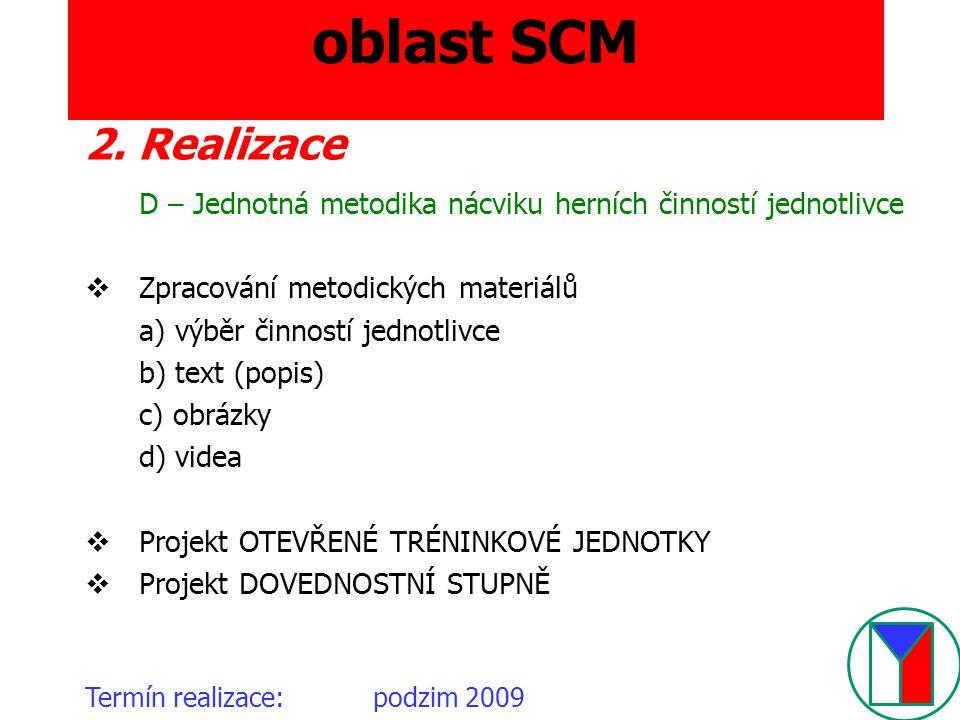 oblast SCM 2. Realizace D – Jednotná metodika nácviku herních činností jednotlivce  Zpracování metodických materiálů a) výběr činností jednotlivce b)