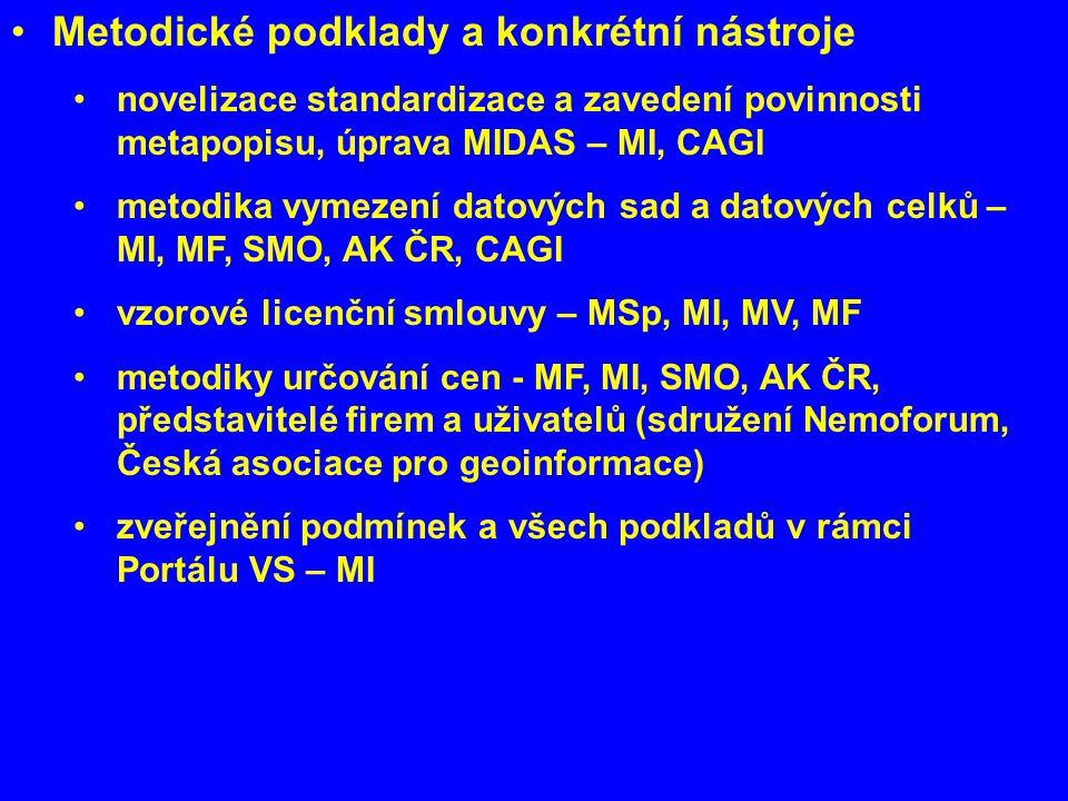 Metodické podklady a konkrétní nástroje novelizace standardizace a zavedení povinnosti metapopisu, úprava MIDAS – MI, CAGI metodika vymezení datových sad a datových celků – MI, MF, SMO, AK ČR, CAGI vzorové licenční smlouvy – MSp, MI, MV, MF metodiky určování cen - MF, MI, SMO, AK ČR, představitelé firem a uživatelů (sdružení Nemoforum, Česká asociace pro geoinformace) zveřejnění podmínek a všech podkladů v rámci Portálu VS – MI