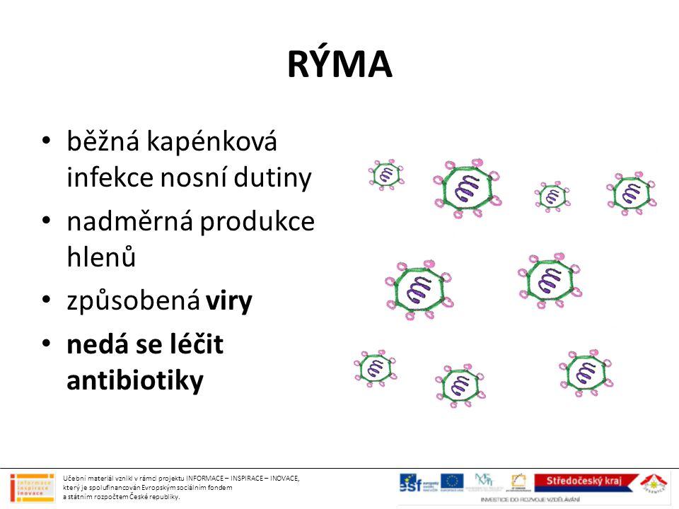 RÝMA běžná kapénková infekce nosní dutiny nadměrná produkce hlenů způsobená viry nedá se léčit antibiotiky Učební materiál vznikl v rámci projektu INF