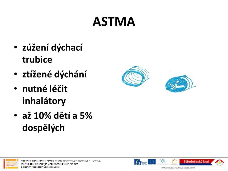 ASTMA zúžení dýchací trubice ztížené dýchání nutné léčit inhalátory až 10% dětí a 5% dospělých Učební materiál vznikl v rámci projektu INFORMACE – INS