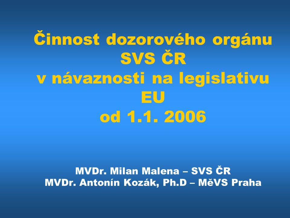 Činnost dozorového orgánu SVS ČR v návaznosti na legislativu EU od 1.1. 2006 MVDr. Milan Malena – SVS ČR MVDr. Antonín Kozák, Ph.D – MěVS Praha