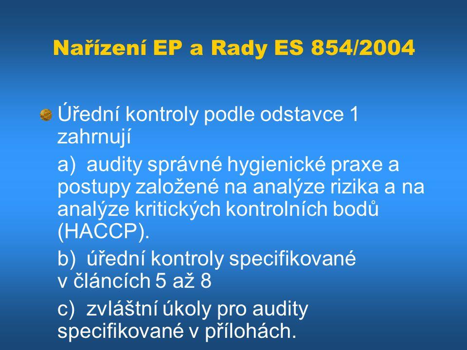 Nařízení EP a Rady ES 854/2004 Úřední kontroly podle odstavce 1 zahrnují a) audity správné hygienické praxe a postupy založené na analýze rizika a na