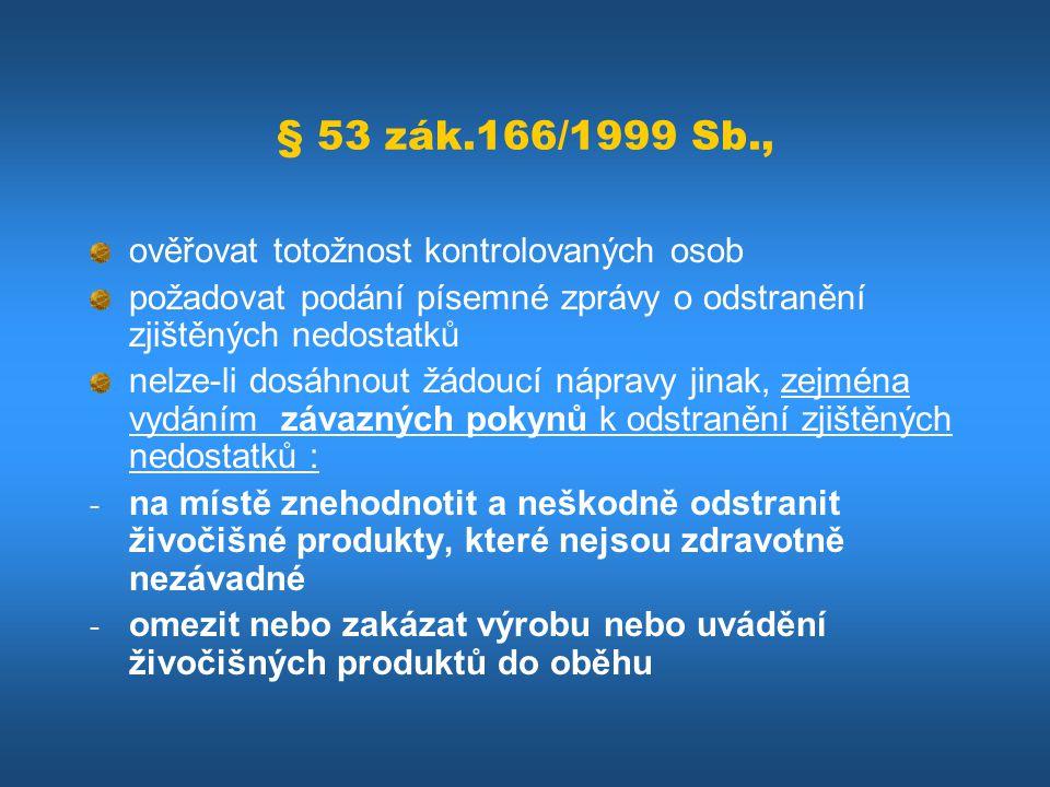 § 53 zák.166/1999 Sb., ověřovat totožnost kontrolovaných osob požadovat podání písemné zprávy o odstranění zjištěných nedostatků nelze-li dosáhnout žá