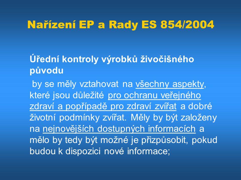 Nařízení EP a Rady ES 854/2004 Úřední kontroly výrobků živočišného původu by se měly vztahovat na všechny aspekty, které jsou důležité pro ochranu veř