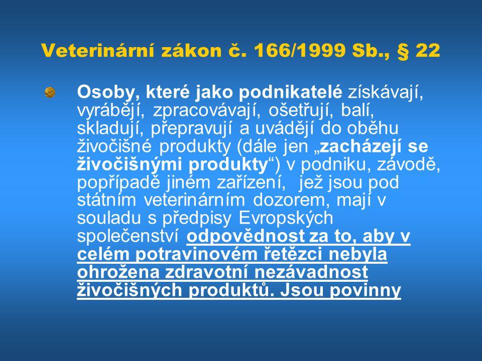Veterinární zákon č. 166/1999 Sb., § 22 Osoby, které jako podnikatelé získávají, vyrábějí, zpracovávají, ošetřují, balí, skladují, přepravují a uváděj