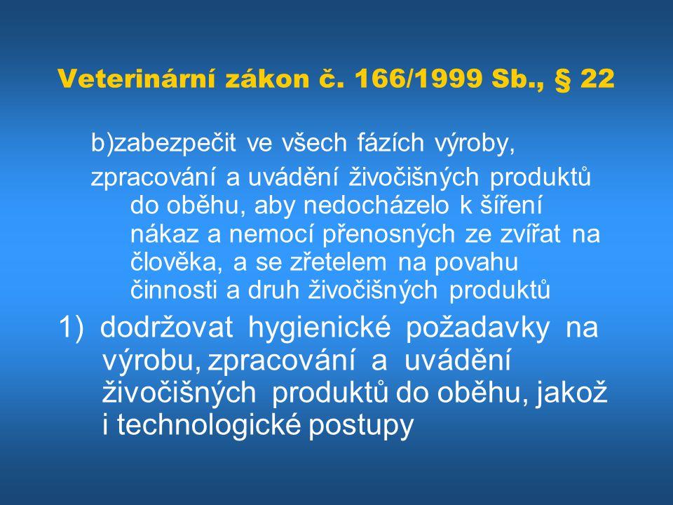 Veterinární zákon č. 166/1999 Sb., § 22 b)zabezpečit ve všech fázích výroby, zpracování a uvádění živočišných produktů do oběhu, aby nedocházelo k šíř