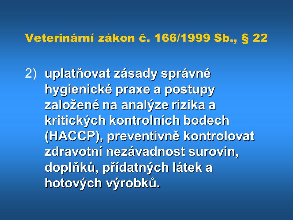Veterinární zákon č. 166/1999 Sb., § 22 uplatňovat zásady správné hygienické praxe a postupy založené na analýze rizika a kritických kontrolních bodec
