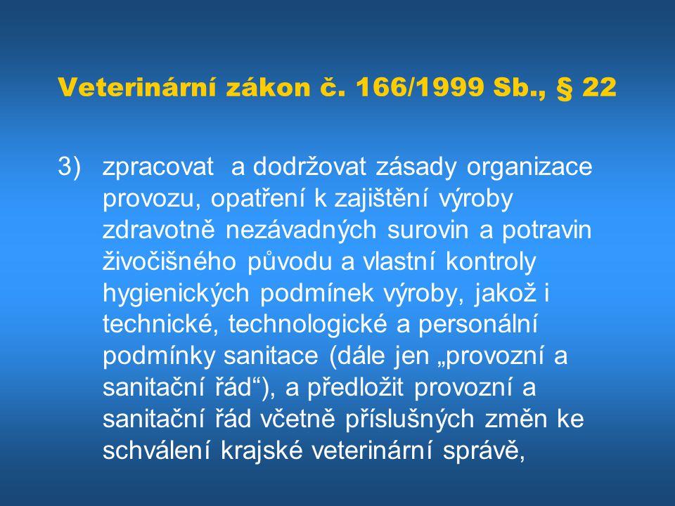 Veterinární zákon č. 166/1999 Sb., § 22 3) zpracovat a dodržovat zásady organizace provozu, opatření k zajištění výroby zdravotně nezávadných surovin