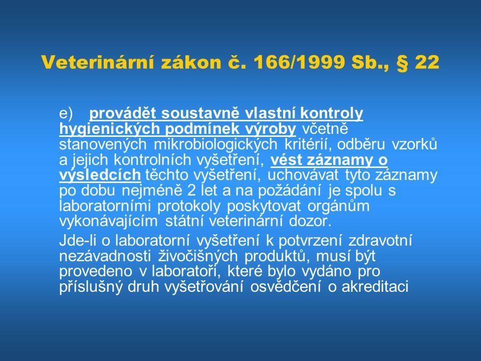 Veterinární zákon č. 166/1999 Sb., § 22 e)provádět soustavně vlastní kontroly hygienických podmínek výroby včetně stanovených mikrobiologických kritér