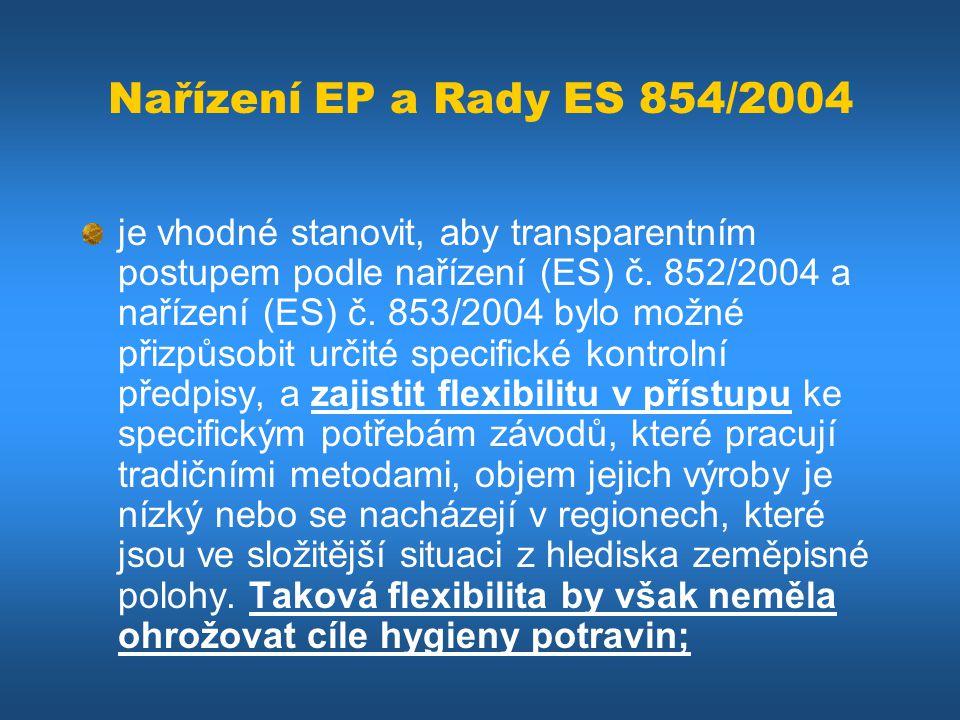 Nařízení EP a Rady ES 854/2004 je vhodné stanovit, aby transparentním postupem podle nařízení (ES) č. 852/2004 a nařízení (ES) č. 853/2004 bylo možné